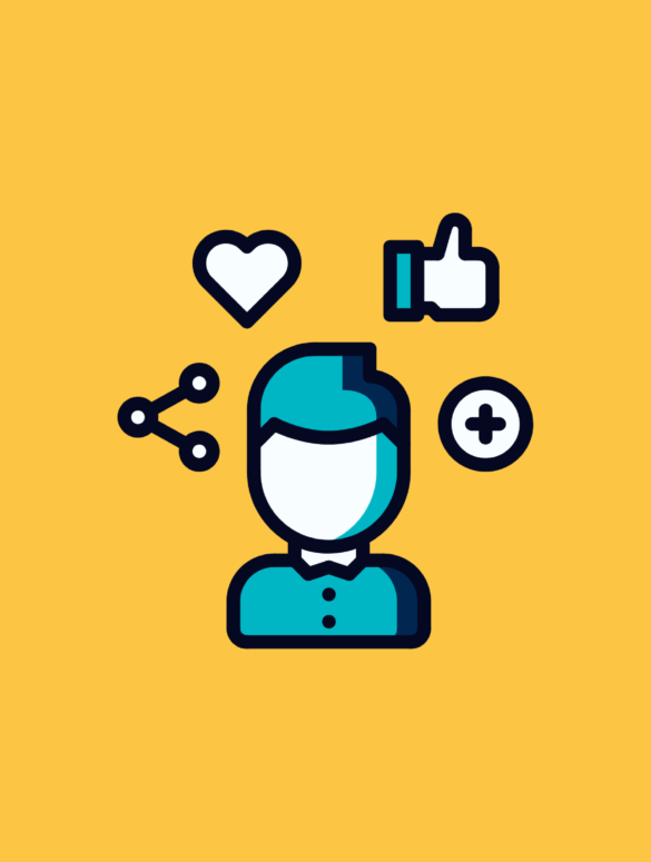 illustration of a product manager surrounded by likes, connections, and plus buttons for product management experts