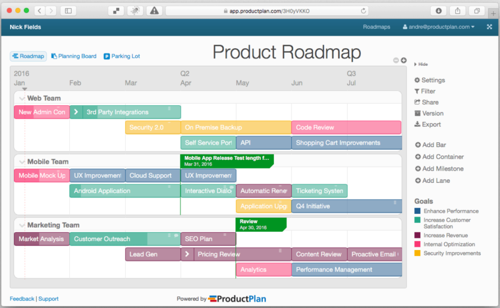 Photo of Product Management Tools ProductPlan
