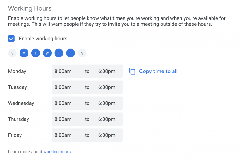 Screenshot of setting Working Hours in google calendar for better remote product management