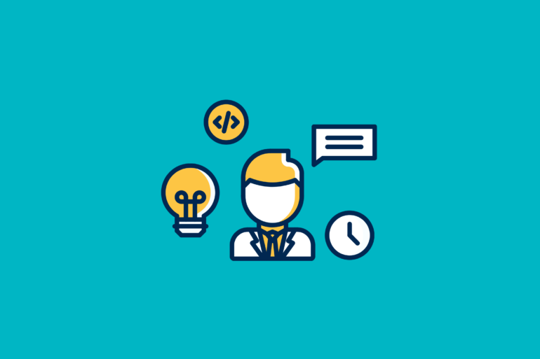 illustrated product manager surrounded by a light bulb, a clock, a message icon, and a code symbol