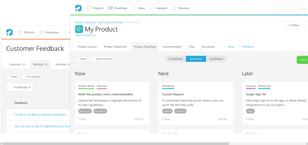 Screenshot of ProdPad - product roadmap tools