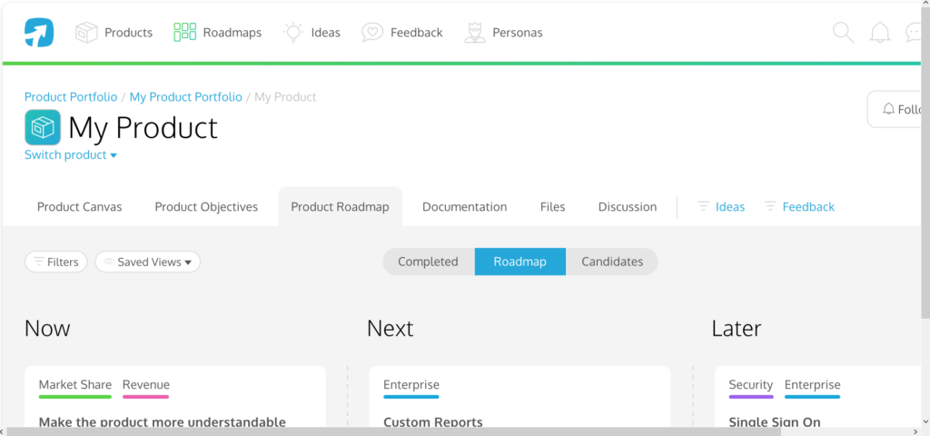Screenshot of ProdPad - Product Management Software