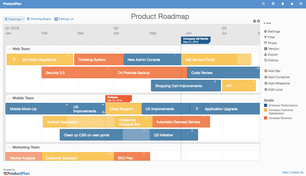 Screenshot of ProductPlan - product roadmap tools