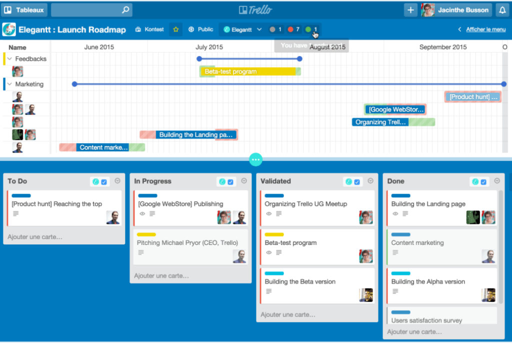 Screenshot of Trello - Product roadmap tools