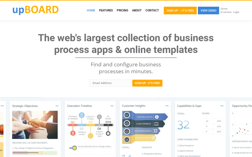 upBOARD.io Startup Product Managers To Build Measure Learn Screenshot