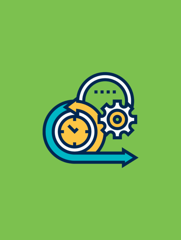 illustration of gears and circles suggesting agile product management software