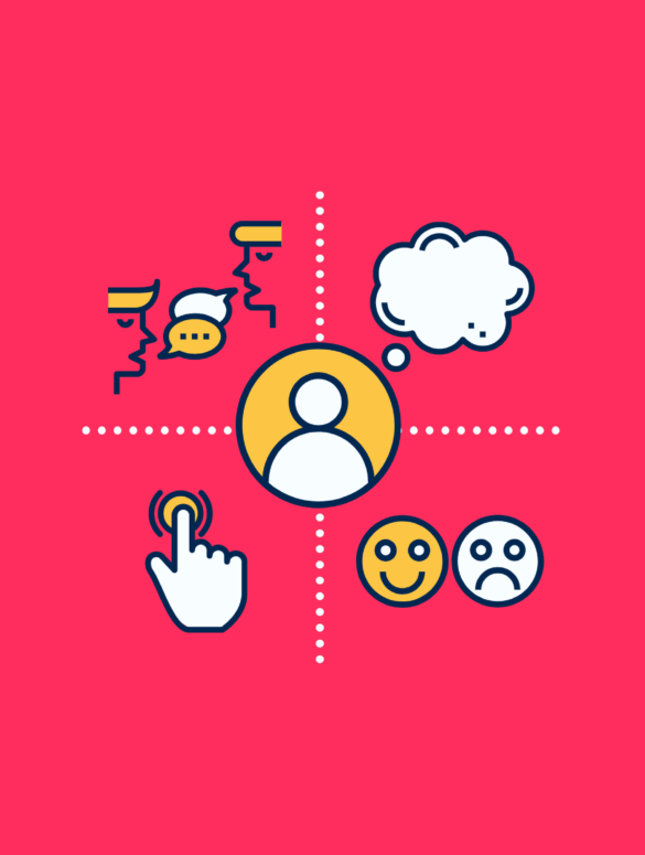 illustration of a customer empathy map showing quadrants for thinking, feeling, doing, and saying