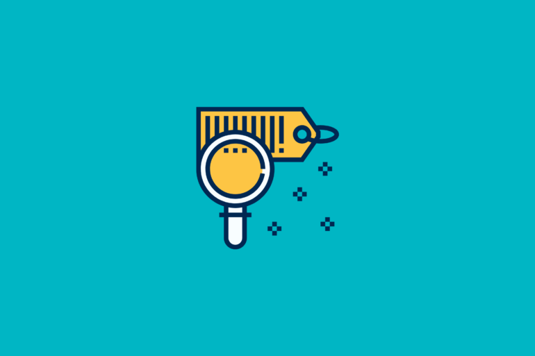 illustration of magnifying glass on a price tag for best ecommerce product data management software