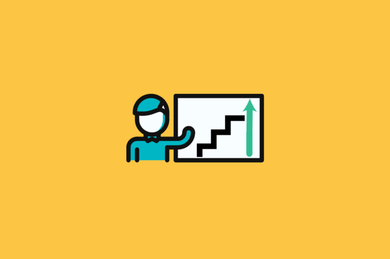 illustration of product manager standing next to a chart