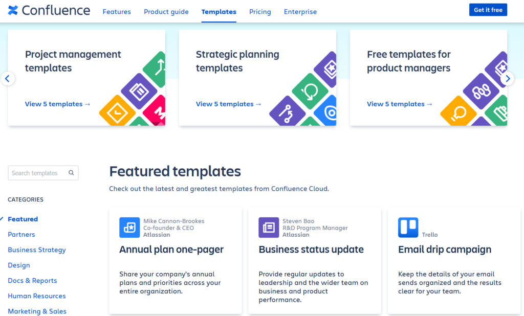 Screenshot Of Confluence for free product management software