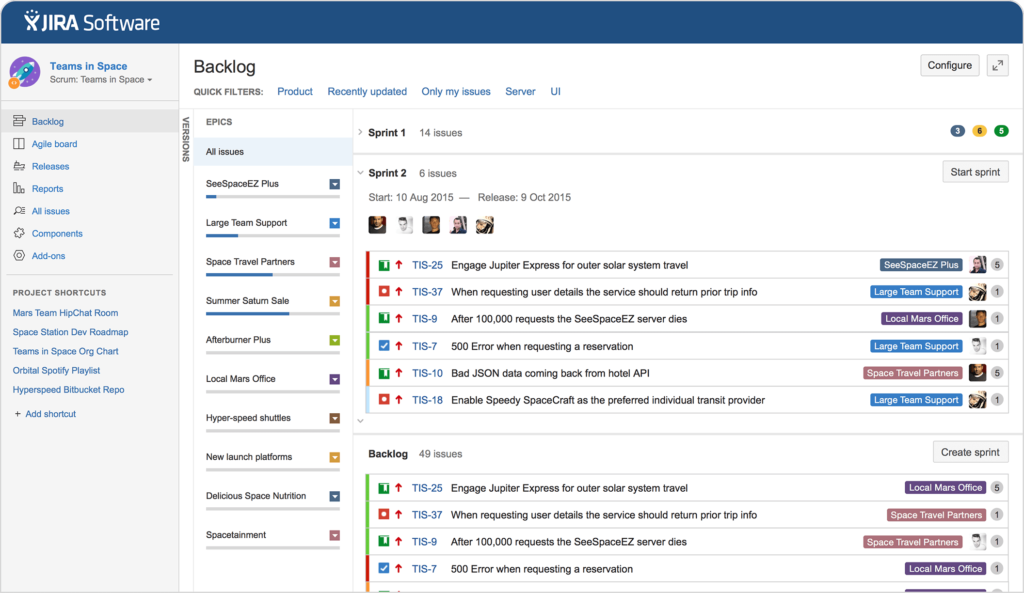 Screenshot Of Jira for free product management software