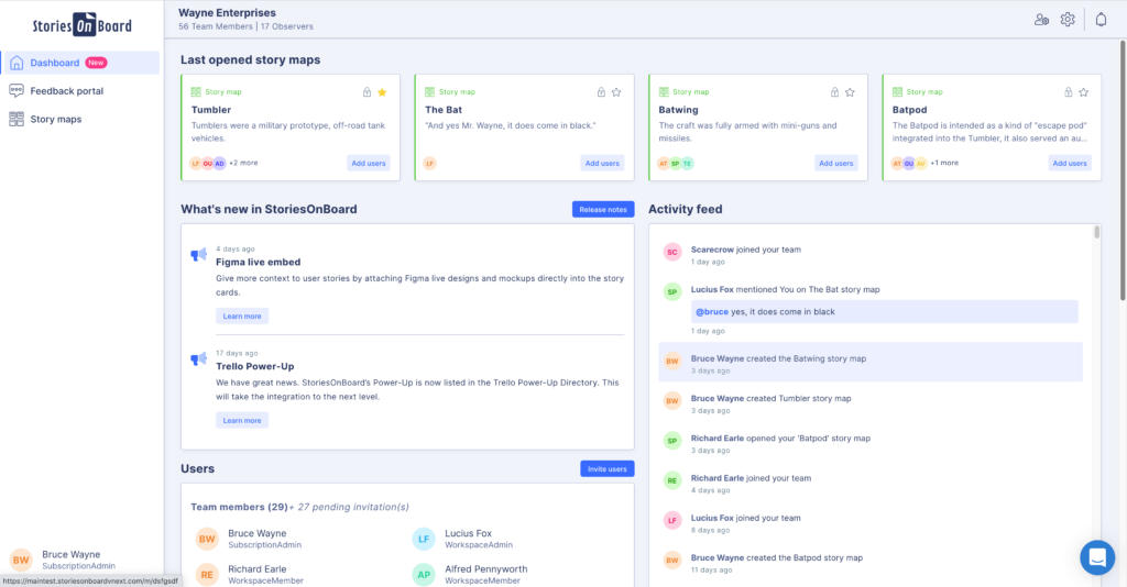 Screenshot of StoriesOnBoard Agile Product Management