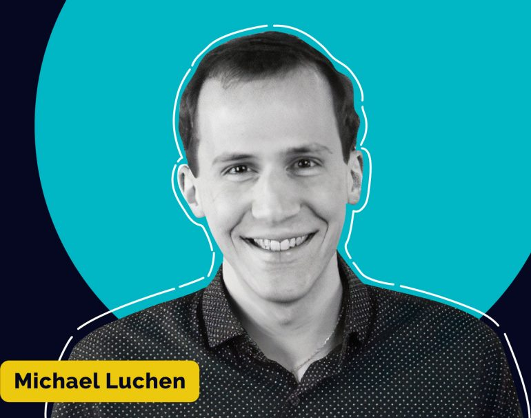 Photo of Michael luchen with a teal bubble and his name highlighted in a yellow box