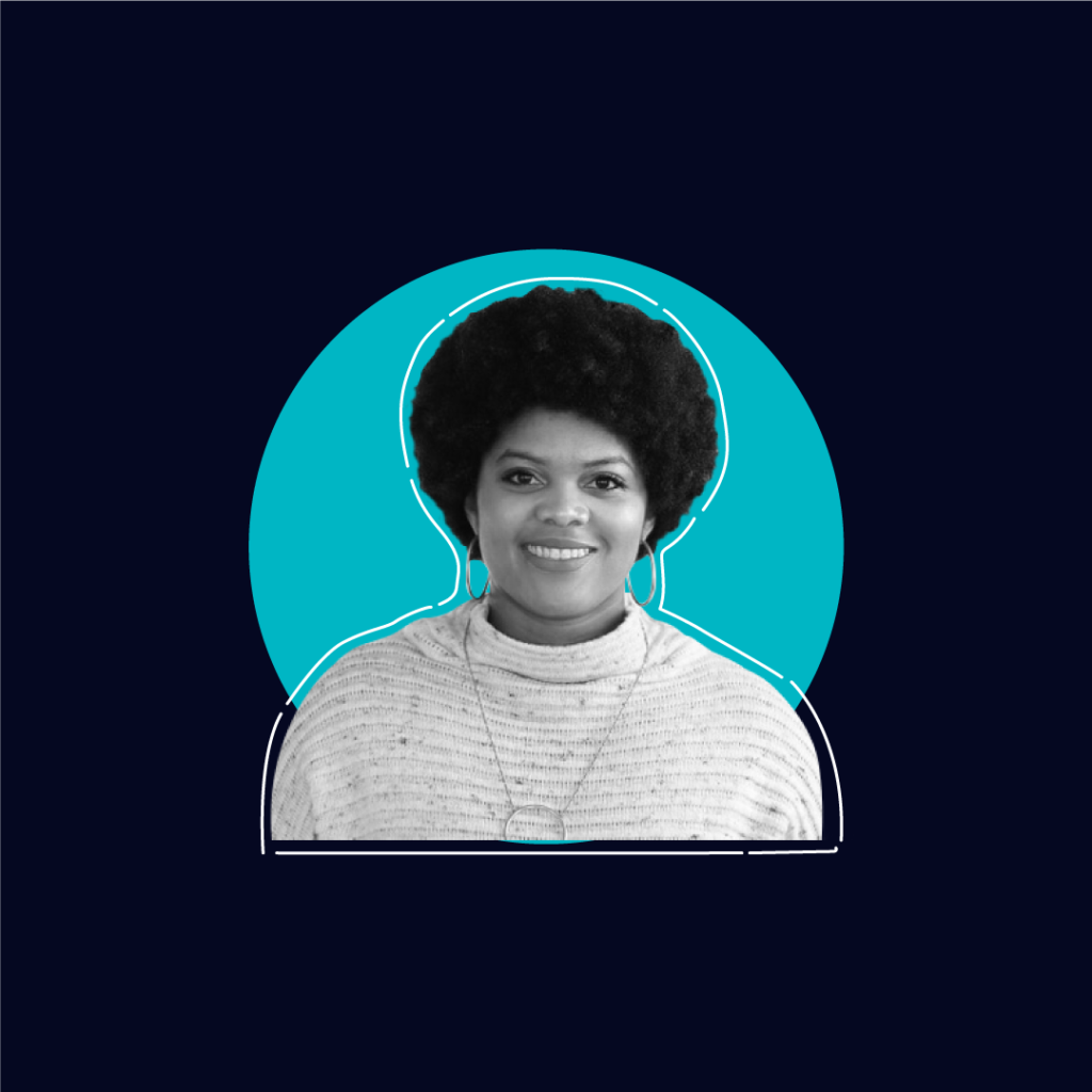 Photo Of Chanel Maddox on a dark blue background with a teal circle