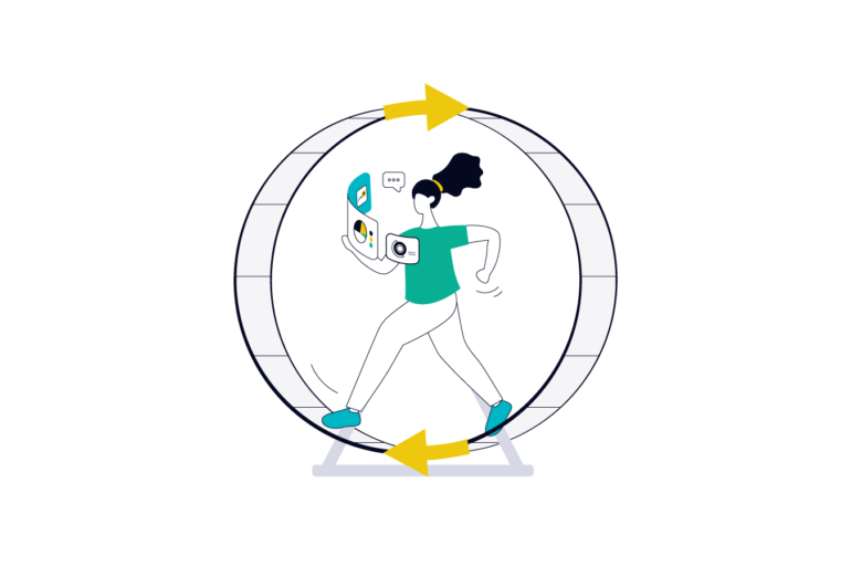 product manager on a hamster wheel for product management life cycle