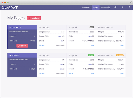 QuickMVP Startup Product Managers To Build Measure Learn Screenshot