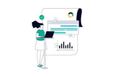 illustration of a product manager at a standing desk with documents and charts in the background