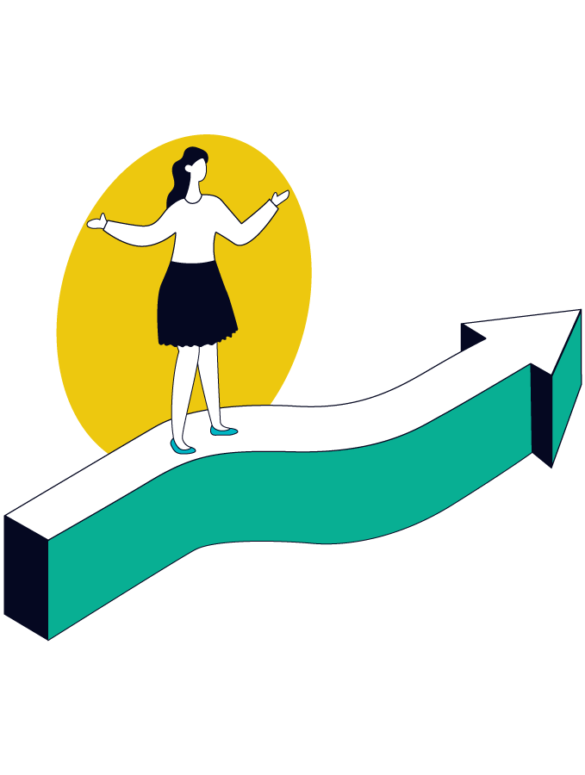 product manager standing on top of a giant green arrow