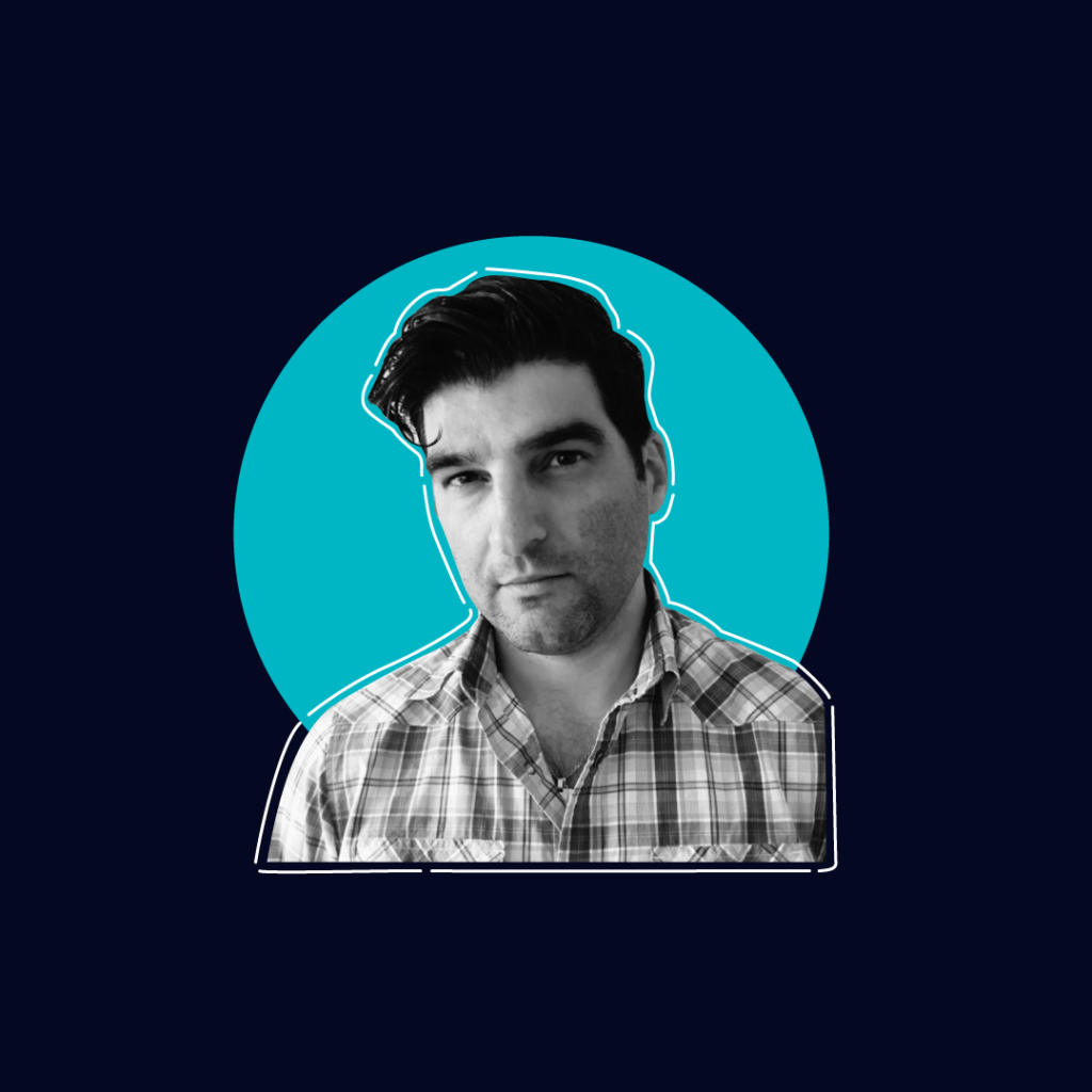 Photo Of Paul Ortchanian on a dark navy background with a teal circle