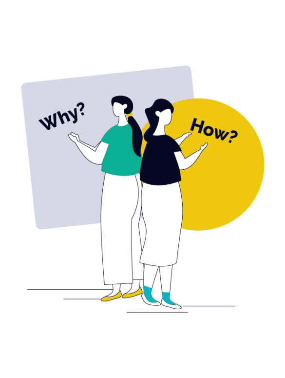 two product managers standing back to back with the words why and how over square and circle shapes