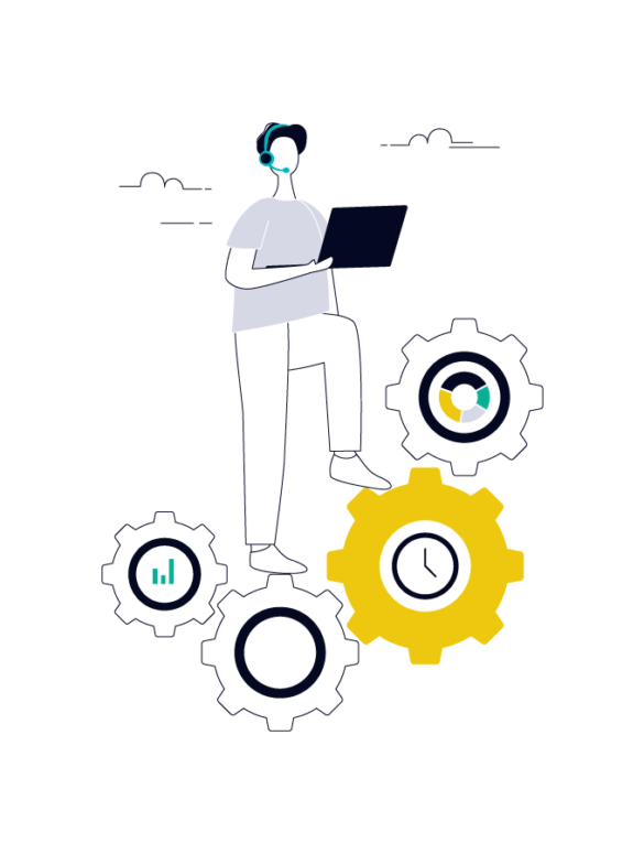 illustration of a product manager with a laptop and some gears